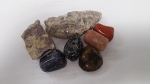 Raw Lepidolite and Amethyst and tumbled Red Jasper, Sunstone, Chiastolite, Snowflake Obsidian, and Dumortierite