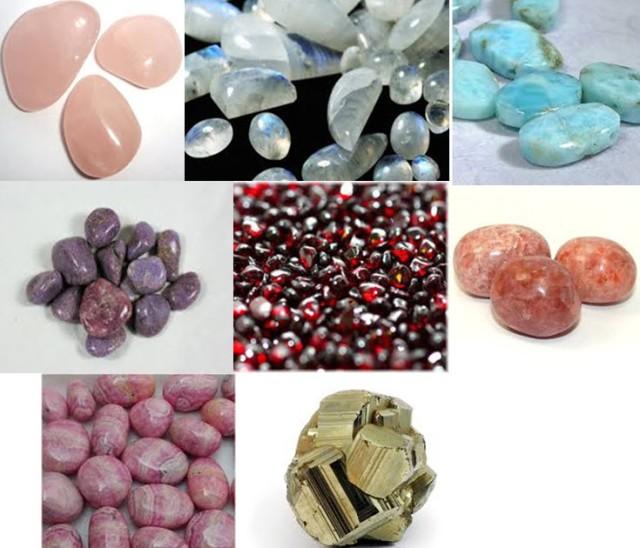Rose Quartz, Rainbow Moonstone, Larimar, Lepidolite, Garnet, Sunstone, Pink Tourmaline, Pyrite